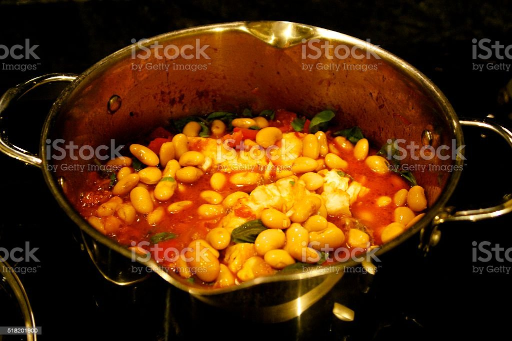 Fish Cataplana with Butter Beans stock photo