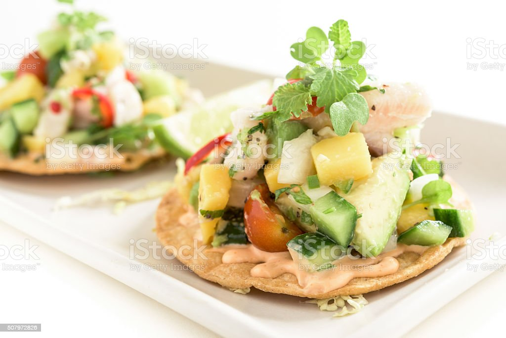 Fish Ceviche Tostada stock photo