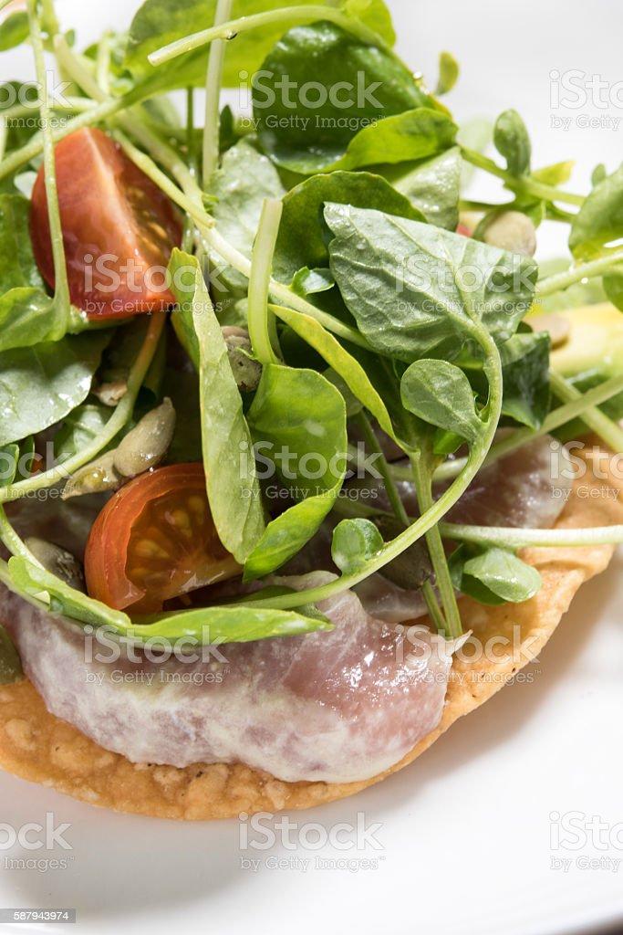 Fish Ceviche Tostada stock photo