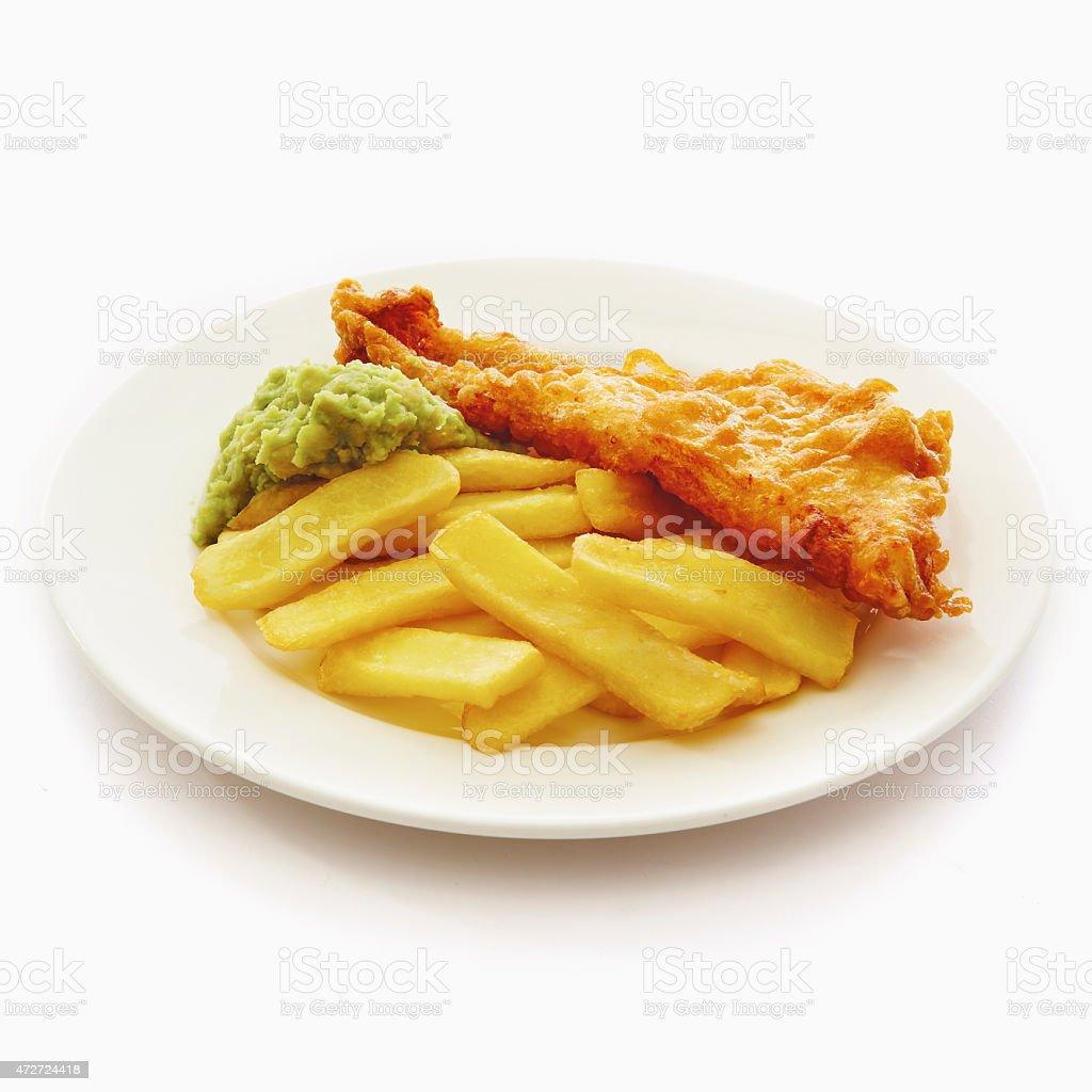 Fish, Chips & mushy peas stock photo