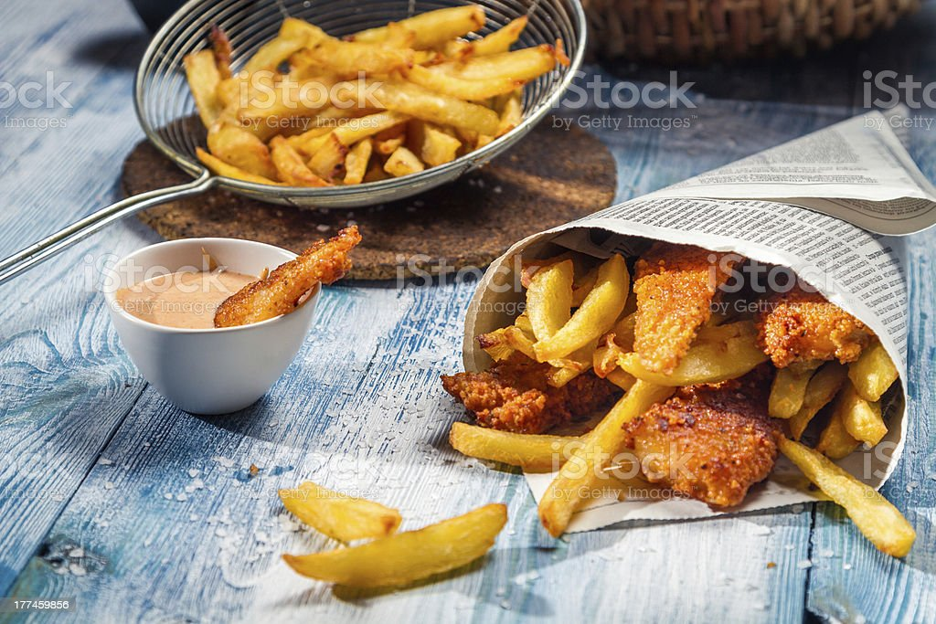 Fish & Chips served in the newspaper stock photo