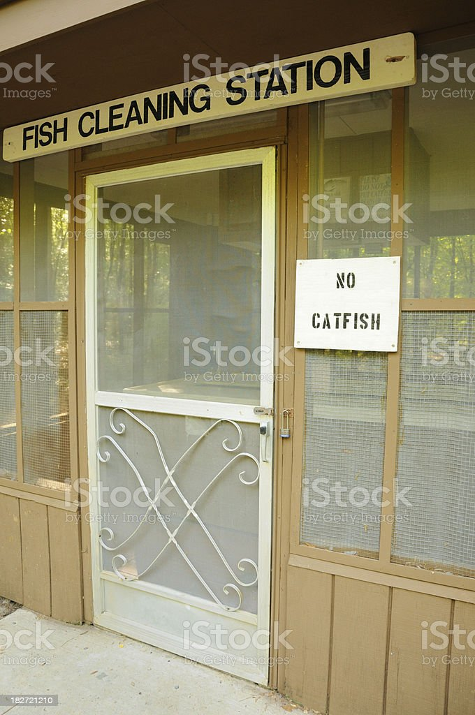 Fish cleaning station stock photo