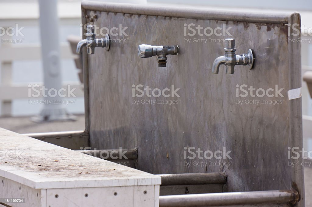 Fish Cleaning Station with Sink stock photo
