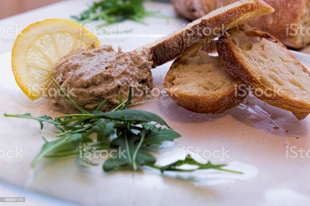 Fish cream with bread stock photo