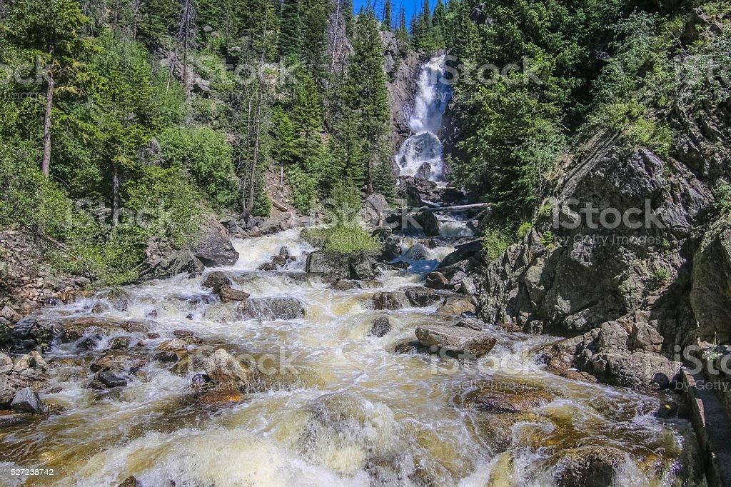Fish Creek Falls Waterfall in Steamboat Springs Colorado stock photo