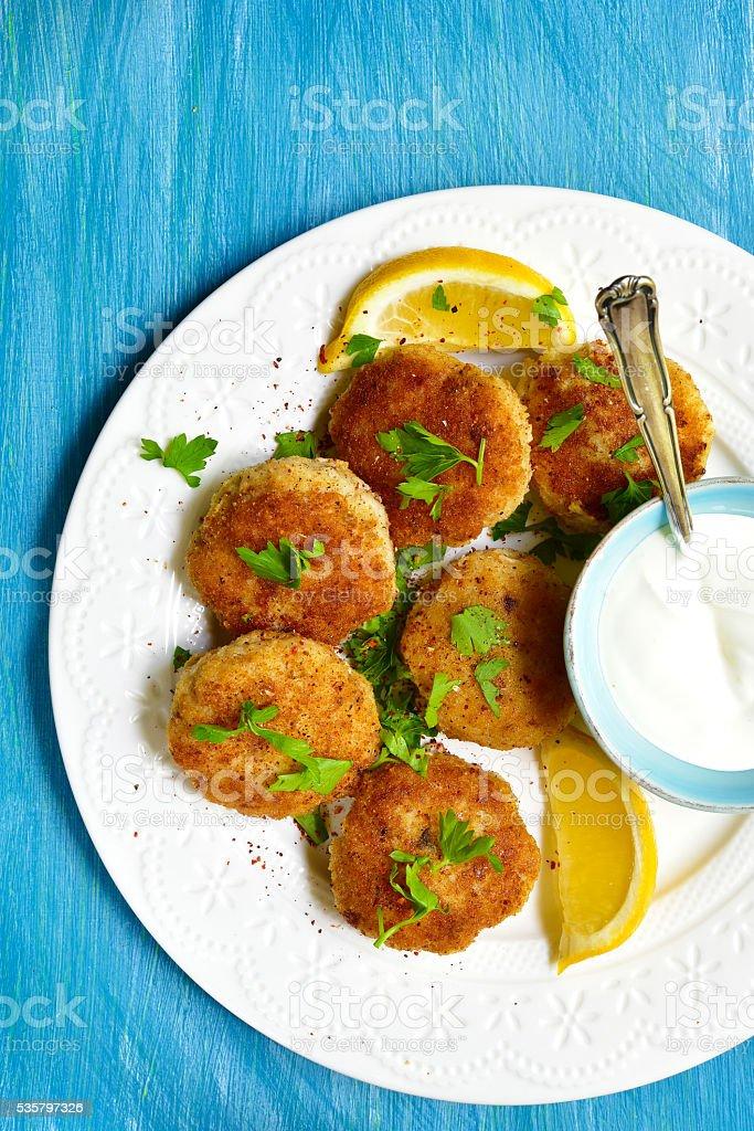 Fish croquettes. stock photo