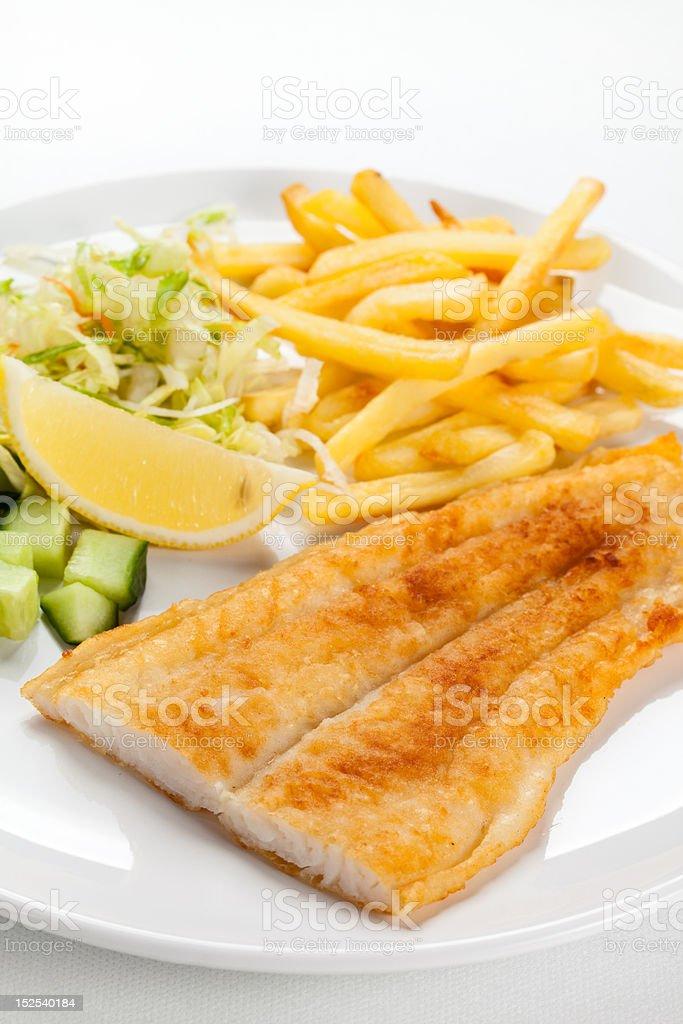 Fish dish - fried cod royalty-free stock photo