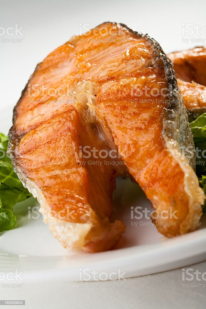 Fish dish - grilled salmon royalty-free stock photo
