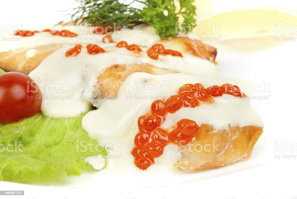 Fish dish - grilled salmon with vegetables royalty-free stock photo