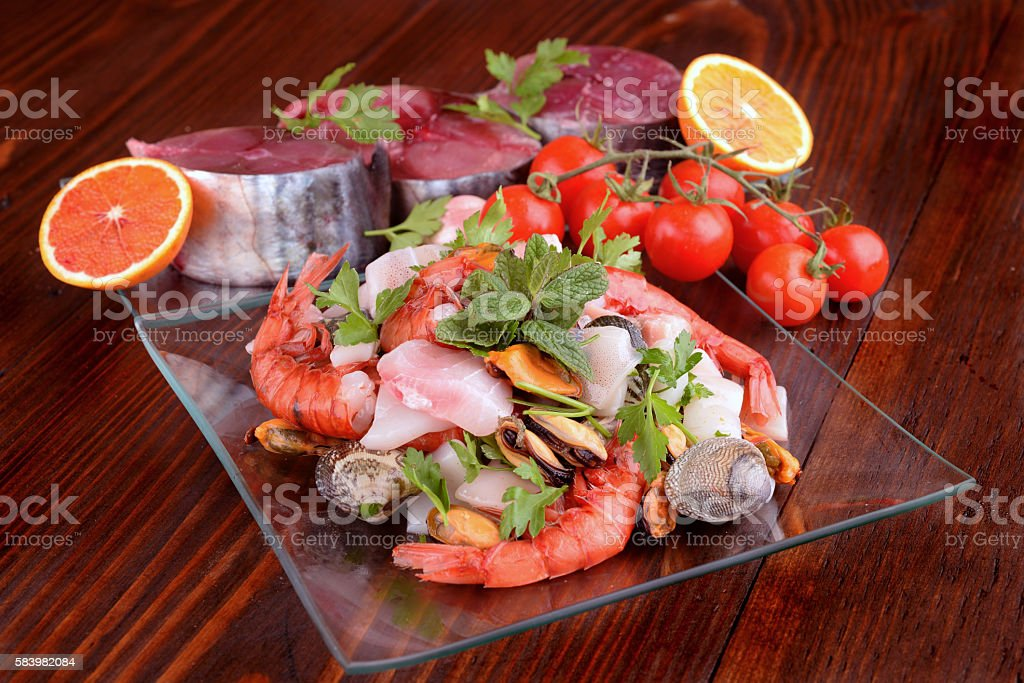 fish dishes and shellfish raw stock photo