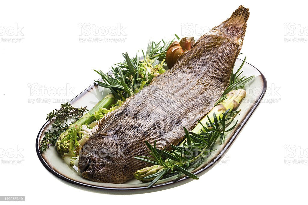 Fish Dover sole roasted royalty-free stock photo