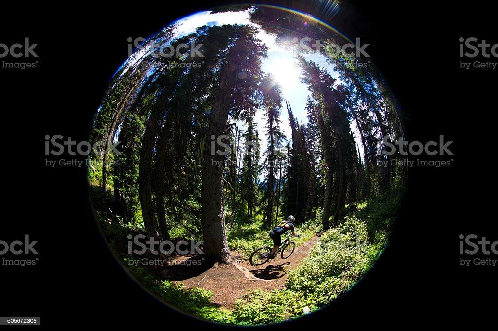 Fish Eye Mountain Biker stock photo