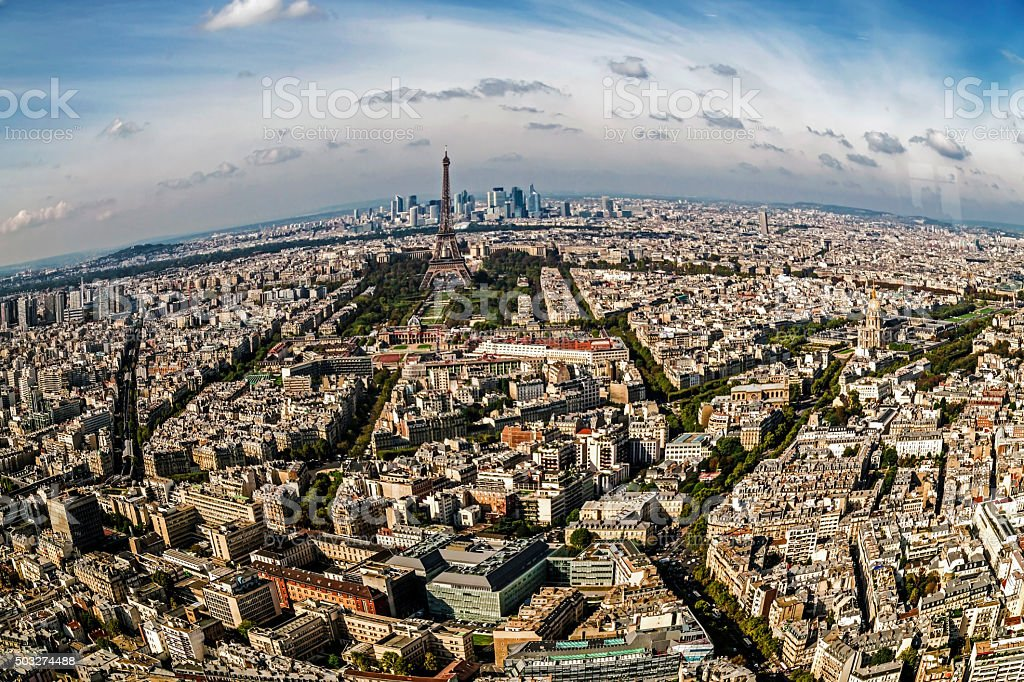 Fish eye panorama and aerial view of Paris stock photo