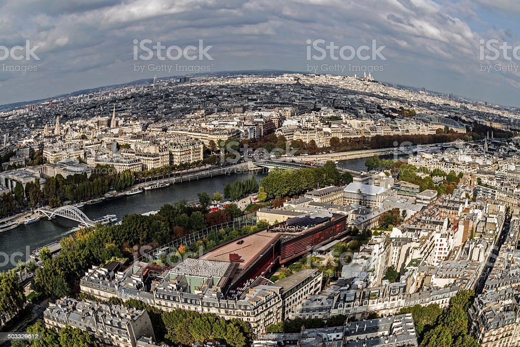 Fish eye panorama from Eiffel tower. River Seine in Paris stock photo
