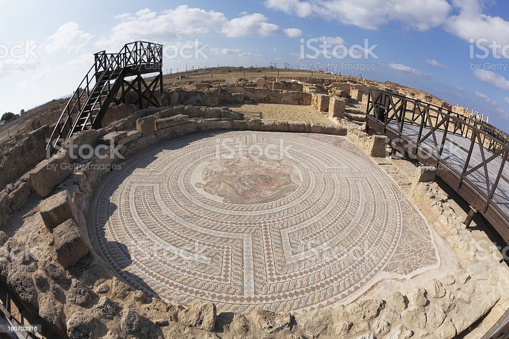 fish eye view archeological site  floor mosaics Paphos ruins  Cyprus stock photo