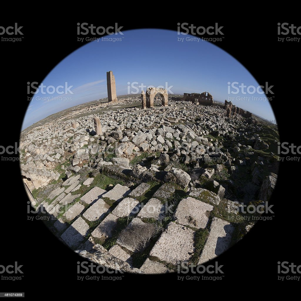 Fish eye view of old ruins, Harran University stock photo