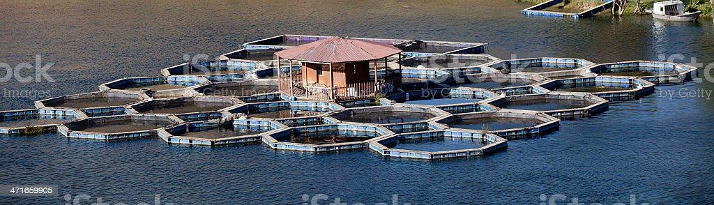 Fish farm in lake royalty-free stock photo