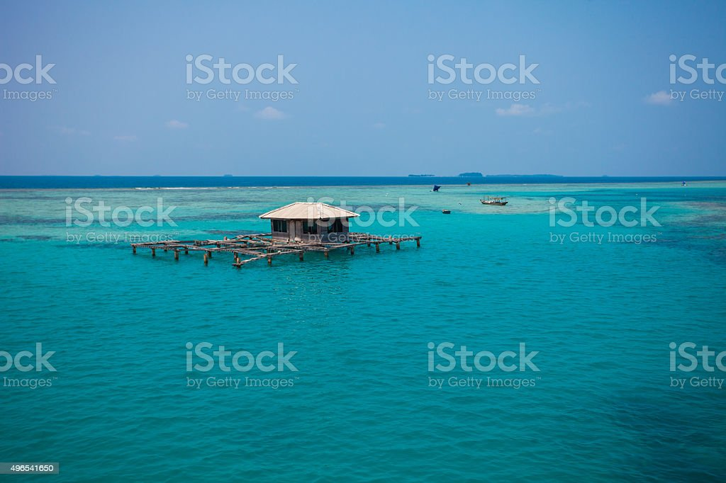 Fish farm in Thousand Islands, Jakarta, Indonesia stock photo
