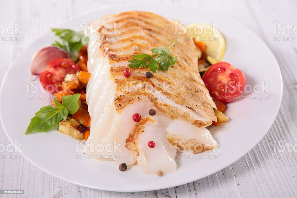 fish fillet and vegetable stock photo