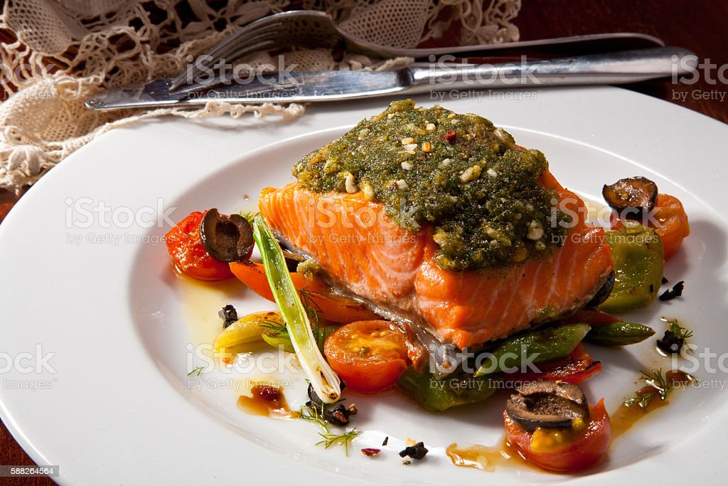 Fish Fillet, Grilled Steamed Vegetables in Sweet and Sour Sauce stock photo