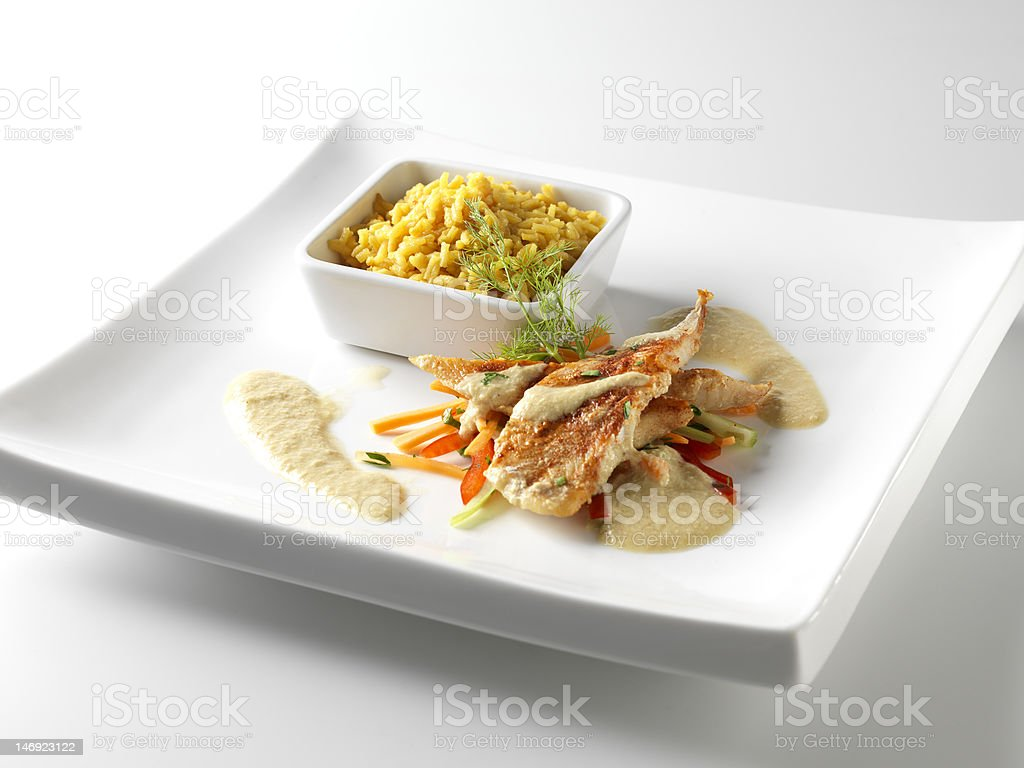 Fish fillet in Porto sauce stock photo