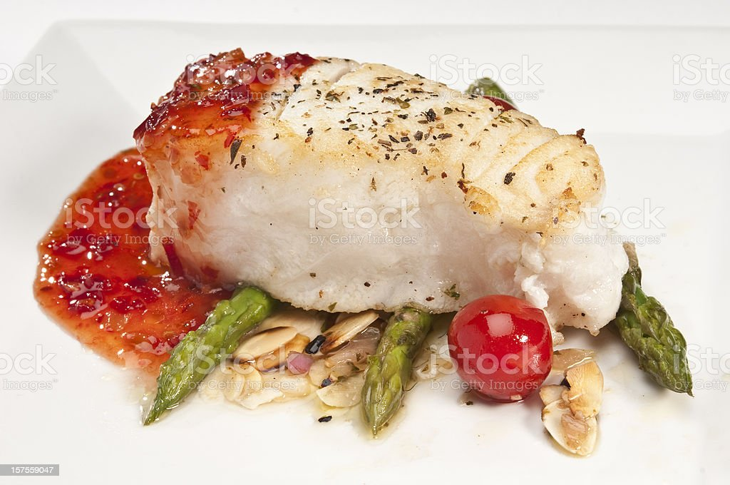 Fish fillet with asparagus royalty-free stock photo