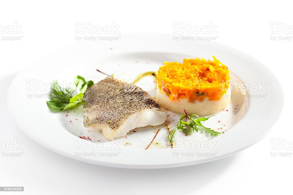 Fish Fillet with Garnish stock photo