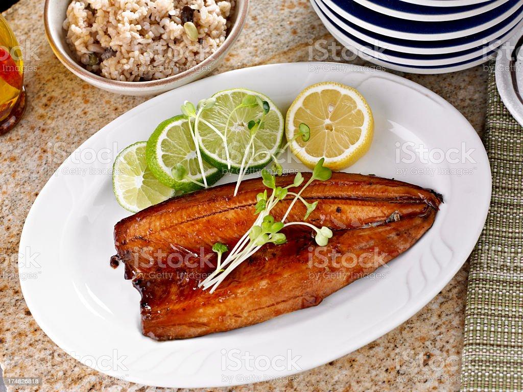 Fish Fillet with Teriyaki Sauce. royalty-free stock photo