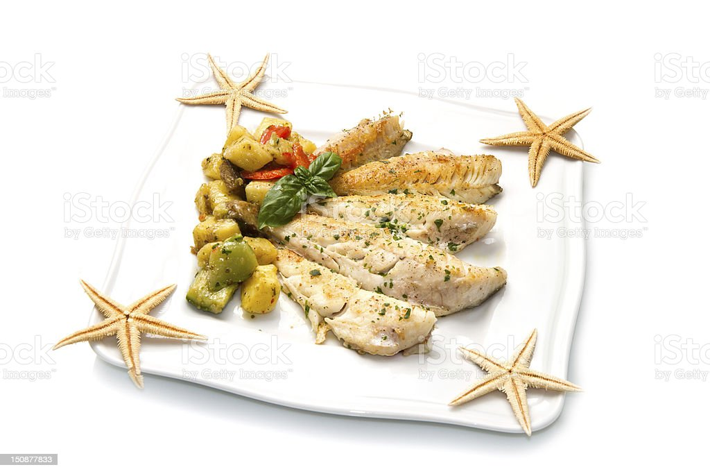 fish fillet with vegetables royalty-free stock photo