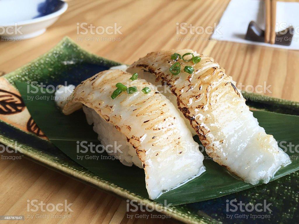 Fish fin sushi (Engawa sushi) stock photo