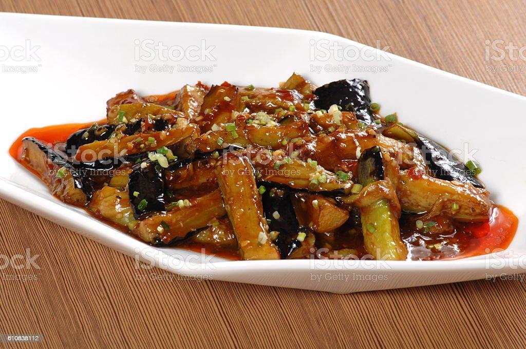 Fish flavored eggplant with Minced Pork in Garlic Sauce (鱼香茄子) stock photo