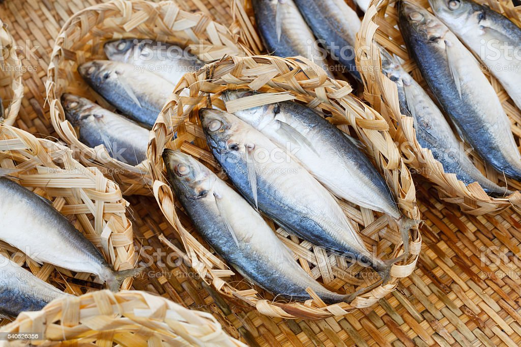 Fish. Fresh seafood in market. Background. stock photo