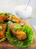 fish goujons with lettuce cups