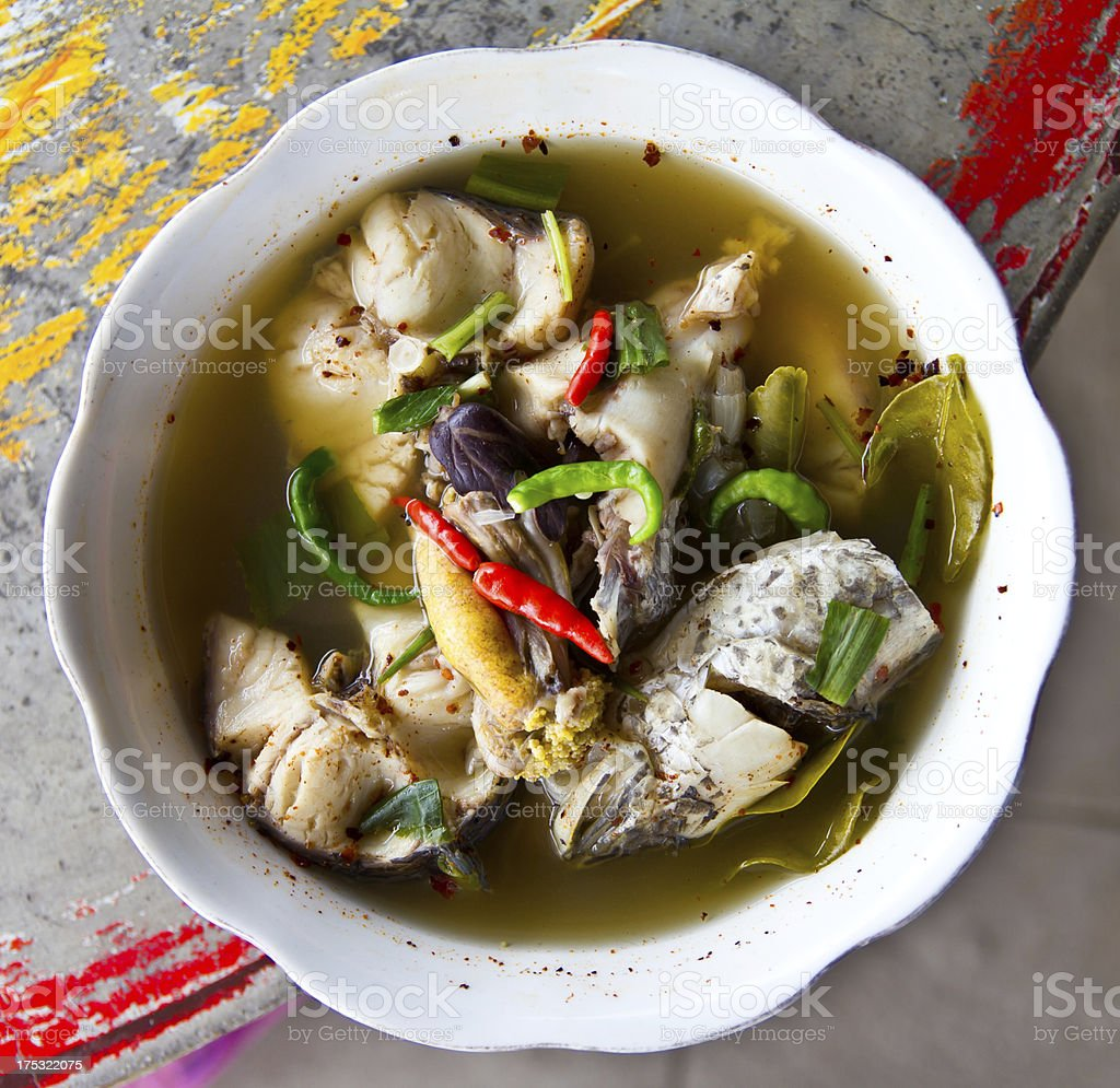 Fish head soup royalty-free stock photo