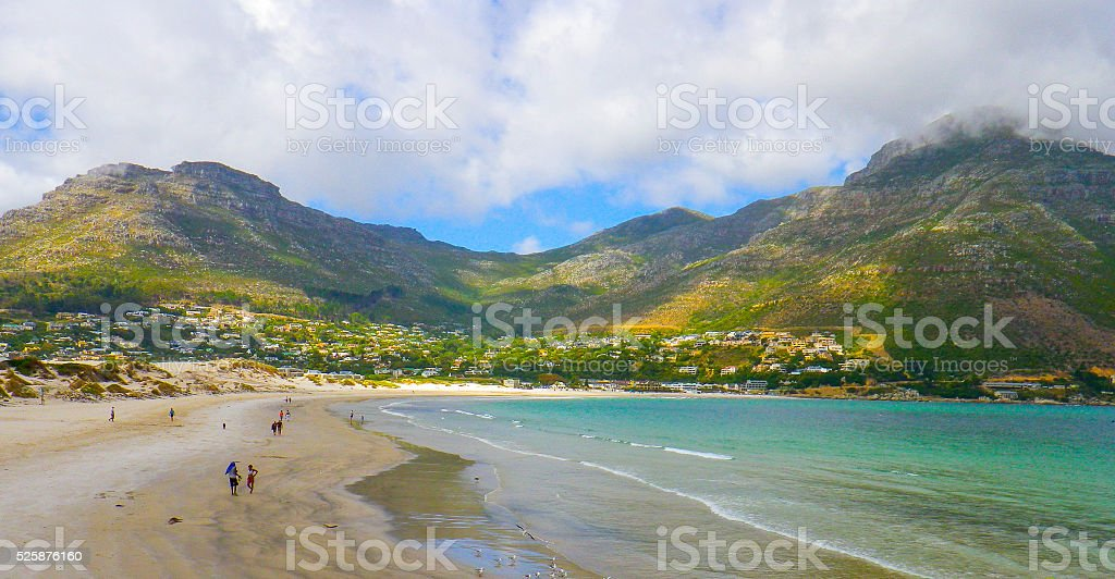 Fish Hoek Beach Mountains and Sea stock photo