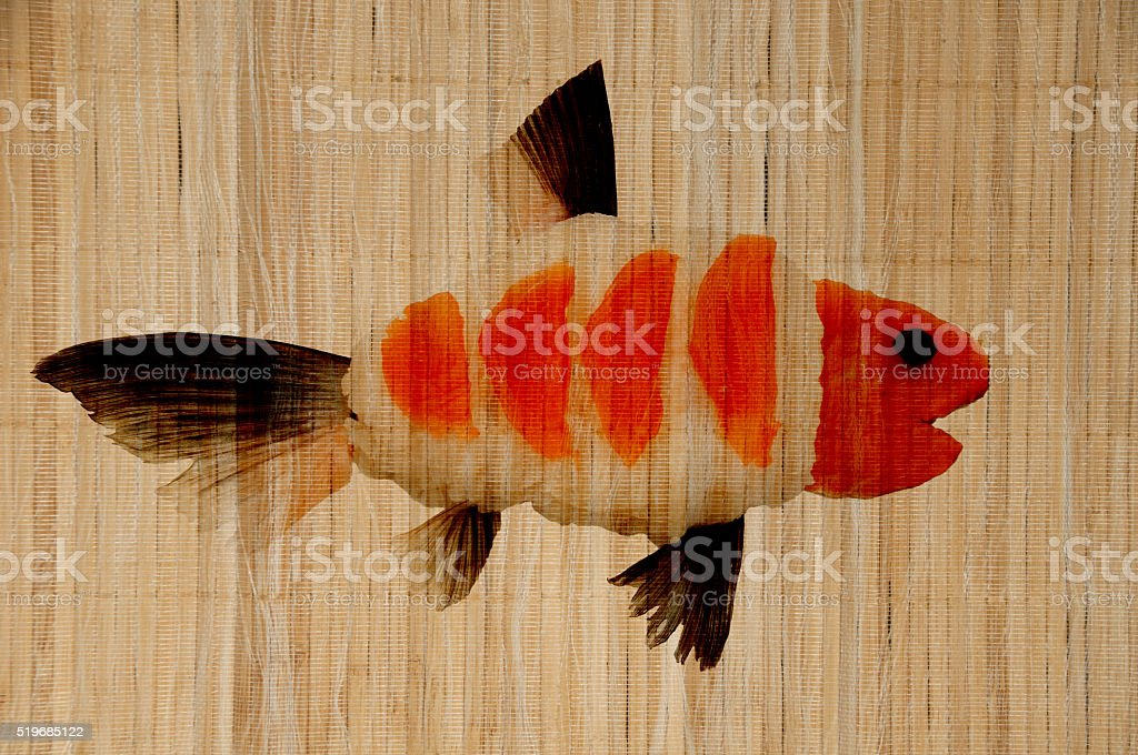 Fish in bamboo as decoration stock photo