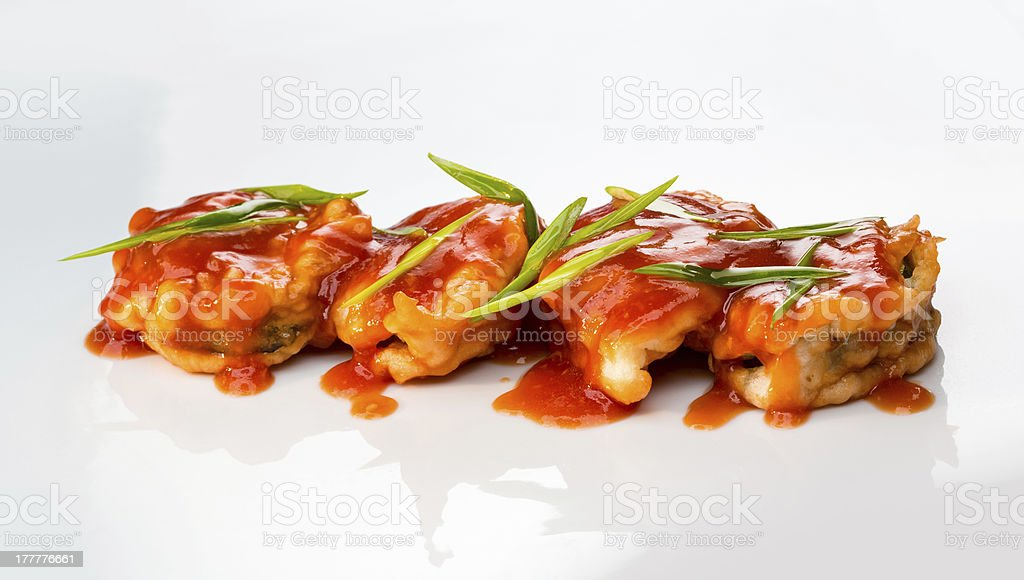 fish in batter spicy sauce royalty-free stock photo