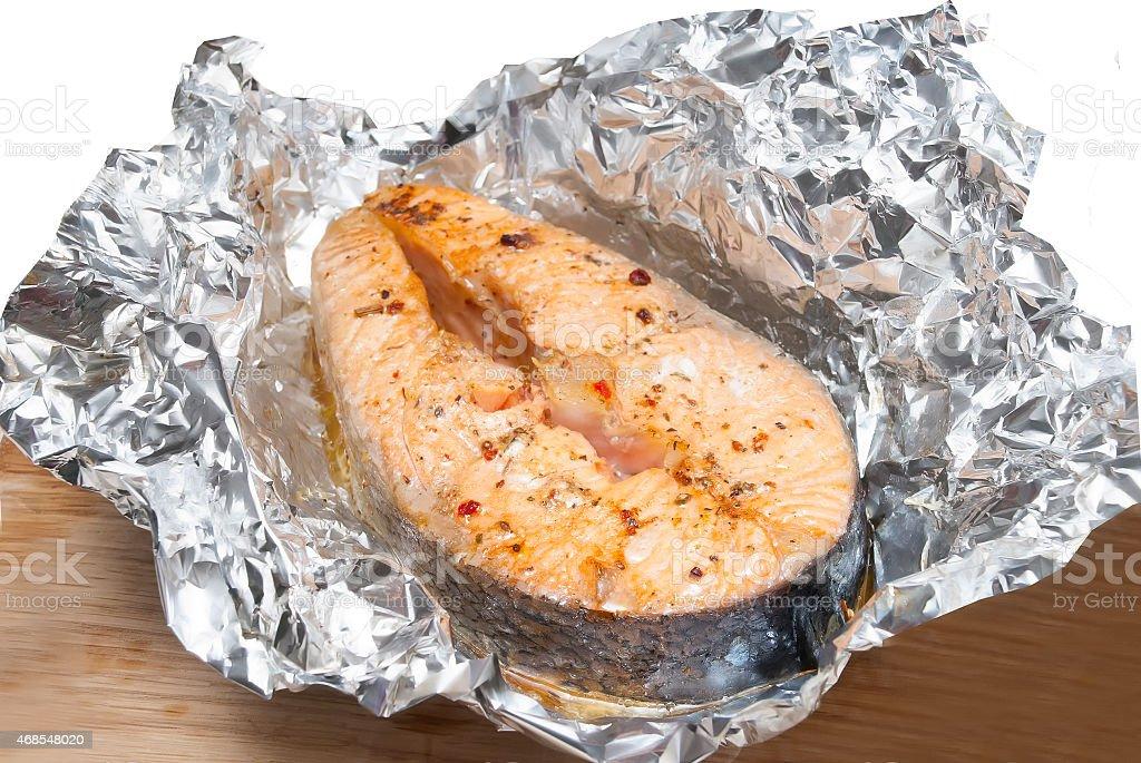 fish in foil stock photo