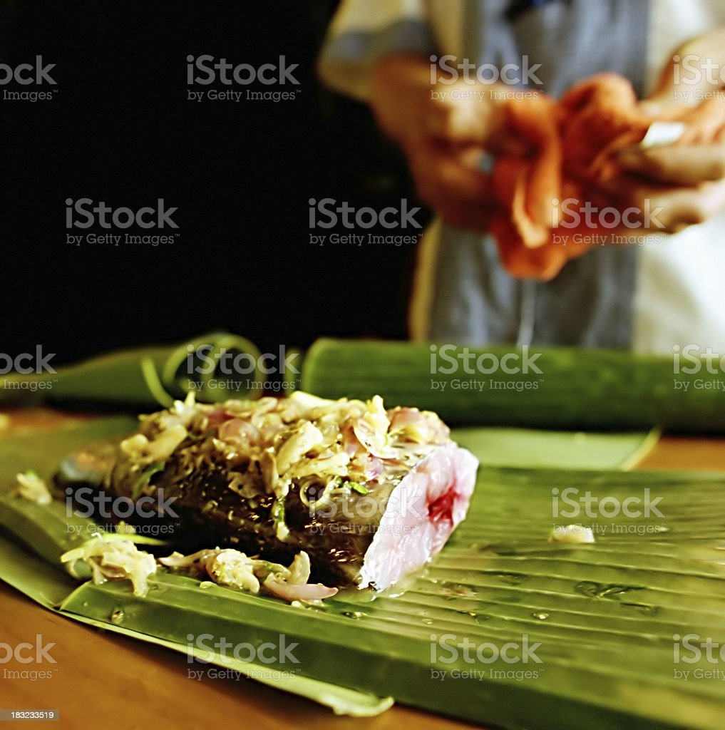Fish in lemongrass royalty-free stock photo