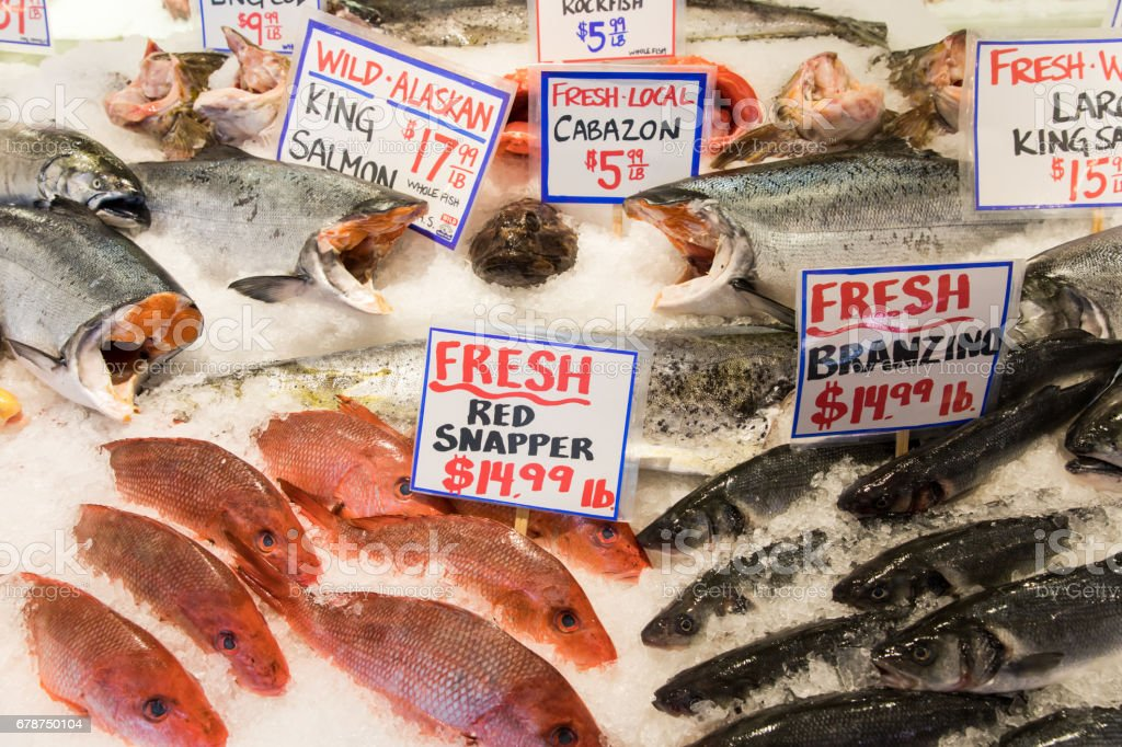 Fish in Pike Place Market stock photo
