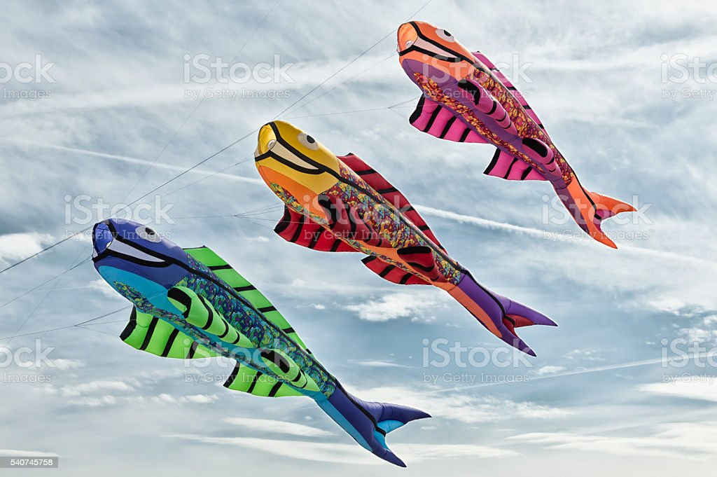 Fish kites in the sky stock photo