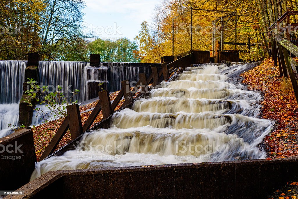 Fish ladder in fall stock photo