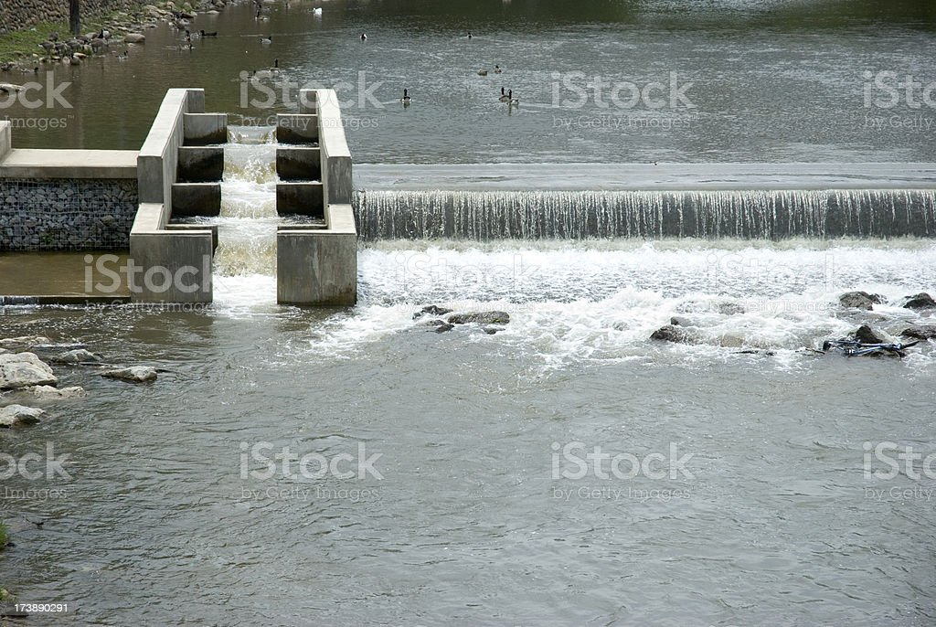 Fish Ladder In River, horizontal stock photo