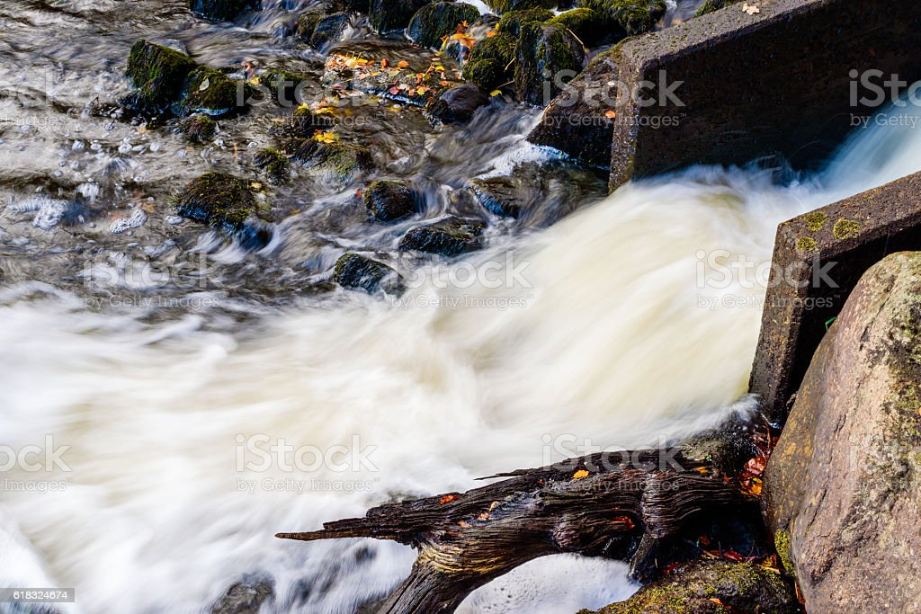 Fish ladder outlet stock photo