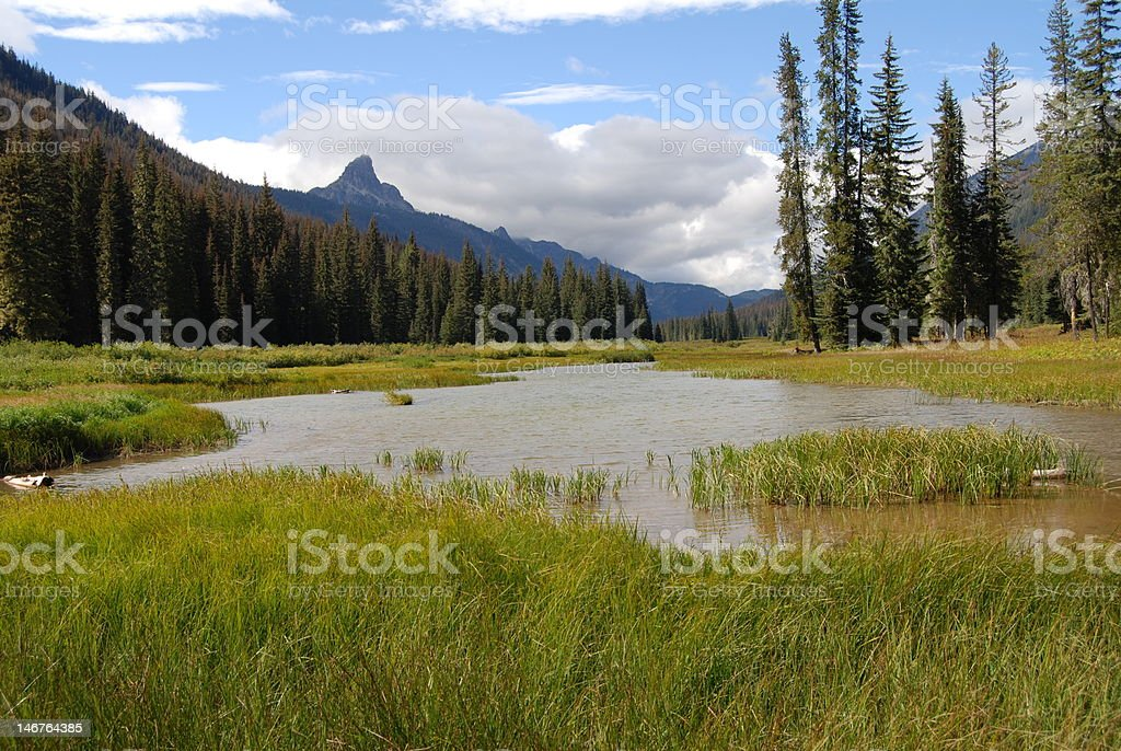 FIsh Lake in the Cascade Mountains stock photo