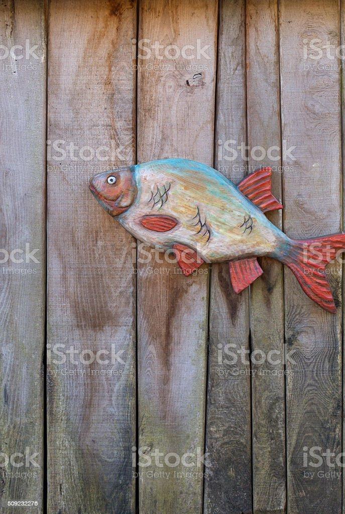 Fish made of wood stock photo