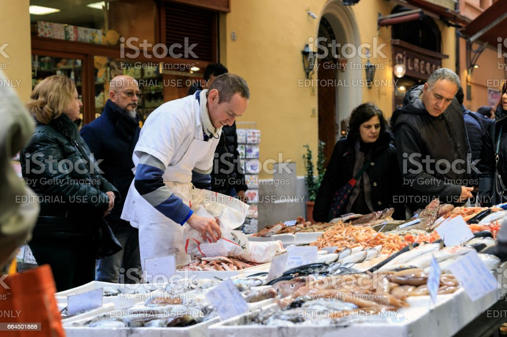 Fish Market, Bologna, Italy stock photo