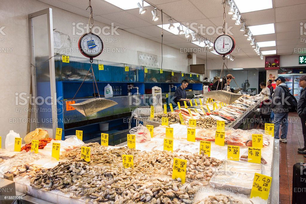 Fish market in China Town stock photo