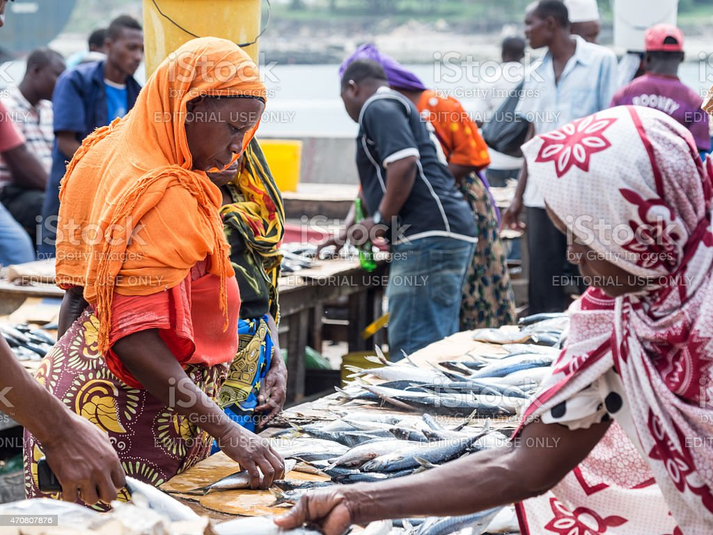 Fish market in Dar es Salaam, Tanzania stock photo