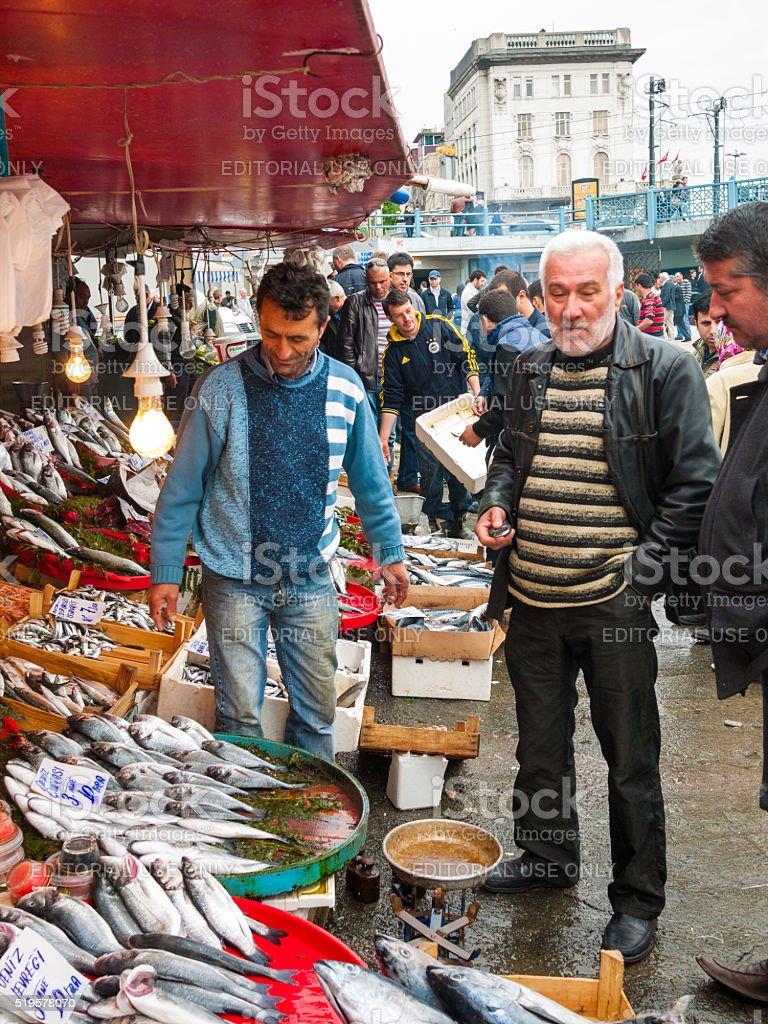 Fish market in Istanbul, Turkey stock photo